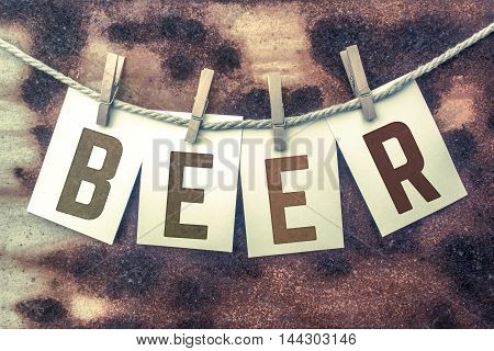 Beer Concept Pinned Stamped Cards On Twine Theme