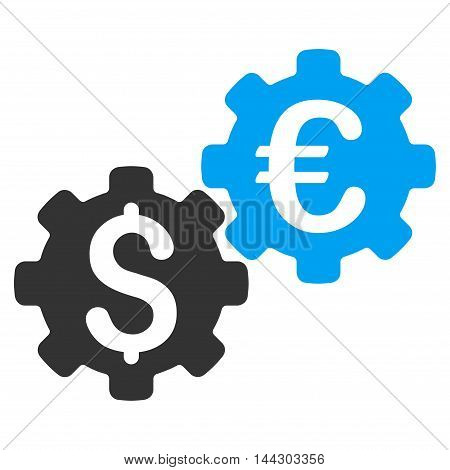 Financial Mechanics icon. Vector style is bicolor flat iconic symbol, blue and gray colors, white background.