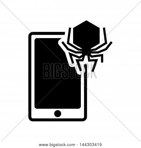 smartphone spider cyber security system protection silhouette icon. Flat and Isolated design. Vector illustration