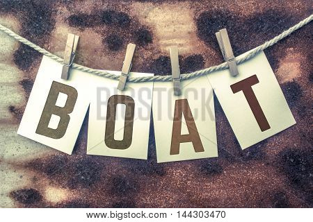 Boat Concept Pinned Stamped Cards On Twine Theme