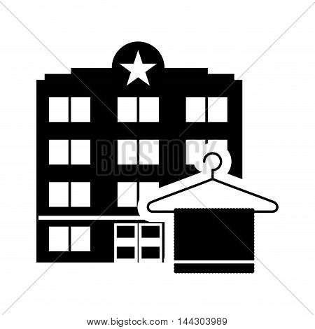 towel hotel building windows service silhouette icon. Flat and Isolated design. Vector illustration