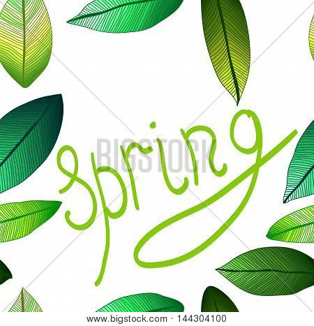 Vector seamless pattern with tribal leaf. Tribal forest pattern. Nature backdrop, repeated background. Spring. Foliage