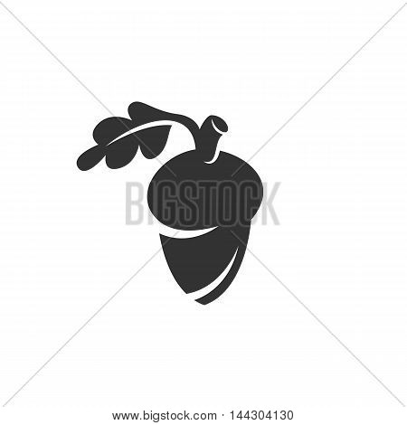 Vector Acorn icon isolated on a white background. Acorn logo in flat style. Simple icon as element for design. Vector symbol, sign, pictogram, illustration