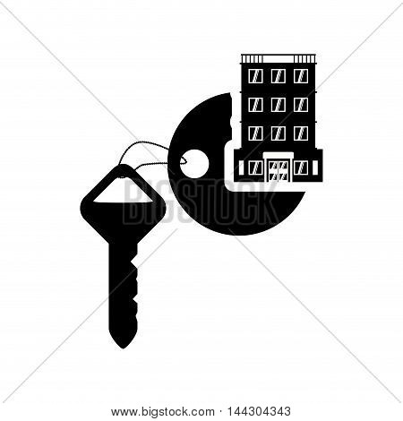 key hotel building windows service silhouette icon. Flat and Isolated design. Vector illustration