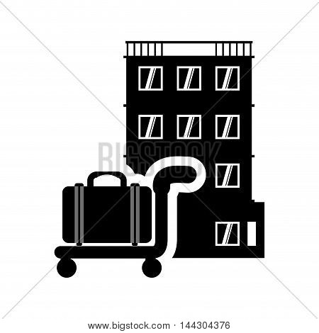 suitcase hotel building windows service silhouette icon. Flat and Isolated design. Vector illustration
