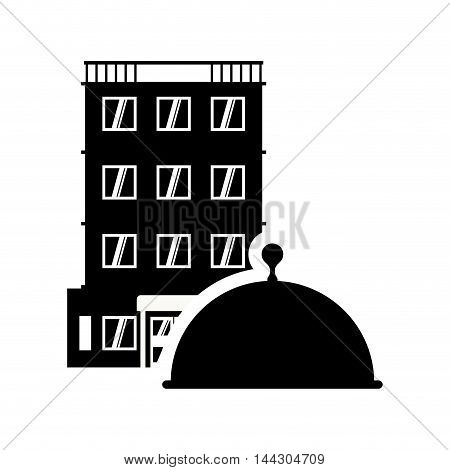 plate menu hotel building windows service silhouette icon. Flat and Isolated design. Vector illustration