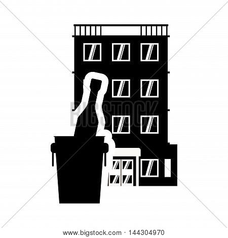 bottle hotel building windows service silhouette icon. Flat and Isolated design. Vector illustration