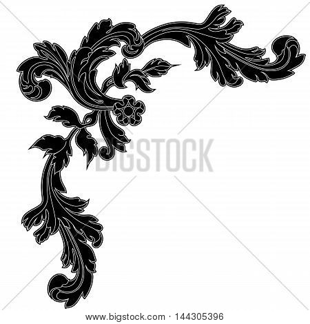 Vintage corner baroque corner, floral vintage, decor vintage, forge vintage, vintage element, scroll vintage, wedding vintage, vintage ornament, ornament, ornament, ornament. Vector.
