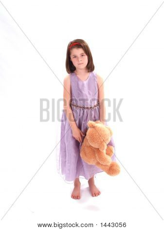 Adorable Girl With Bear