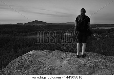 2016/08/07 - Hradcany Czech republic - photographer Jiri Igaz appeared view from the rock Hradcanska vyhlidka to mountains Ralsko and Jested in tourist area Machuv kraj