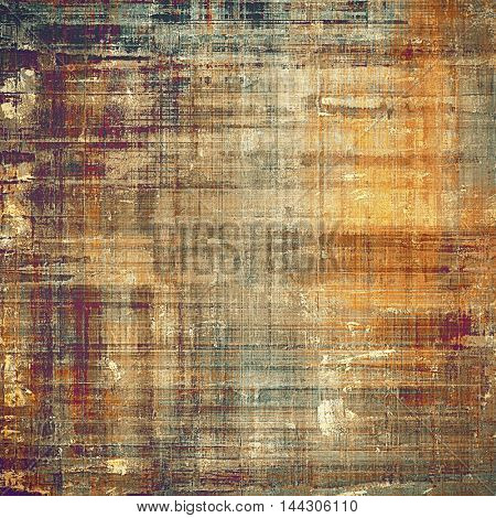 Damaged retro texture with grunge style elements and different color patterns: gray; red (orange); purple (violet); yellow (beige); brown; cyan