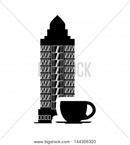 coffee mug hotel building windows service silhouette icon. Flat and Isolated design. Vector illustration