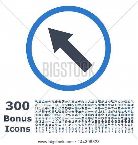 Up-Left Rounded Arrow icon with 300 bonus icons. Vector illustration style is flat iconic bicolor symbols, smooth blue colors, white background.