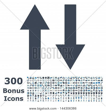 Vertical Flip Arrows icon with 300 bonus icons. Vector illustration style is flat iconic bicolor symbols, smooth blue colors, white background.