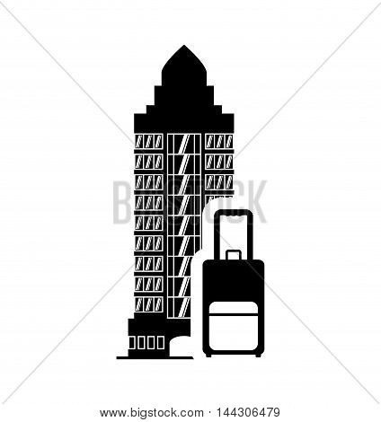 baggage luggage hotel building windows service silhouette icon. Flat and Isolated design. Vector illustration