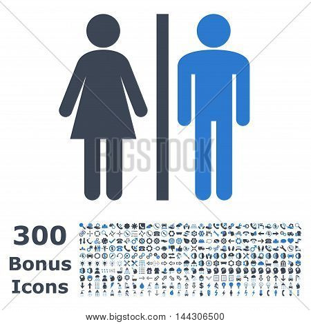 WC Persons icon with 300 bonus icons. Vector illustration style is flat iconic bicolor symbols, smooth blue colors, white background.