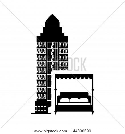 bed hotel building windows service silhouette icon. Flat and Isolated design. Vector illustration
