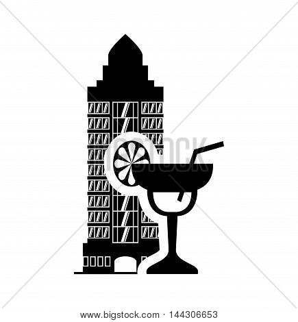 cocktail lemon hotel building windows service silhouette icon. Flat and Isolated design. Vector illustration