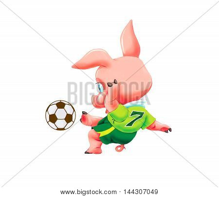 Little pig with soccer ball on white background