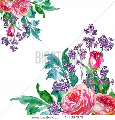 Flowers rose with leaves watercolor illustration card