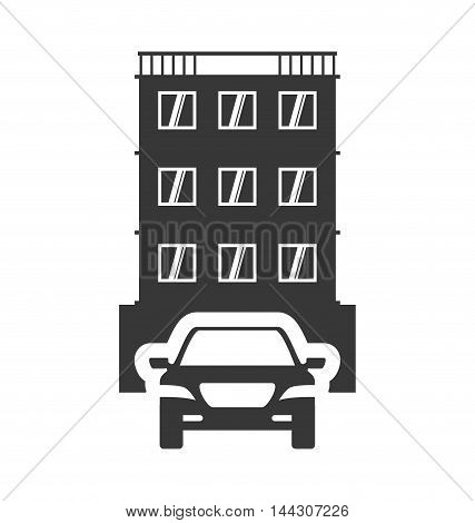 car auto taxi hotel building windows service silhouette icon. Flat and Isolated design. Vector illustration