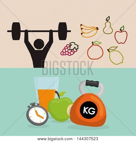 pictogram fruits drink weight lifting healthy lifestyle fitness gym bodybuilding icon set. Colorful and flat design. Vector illustration