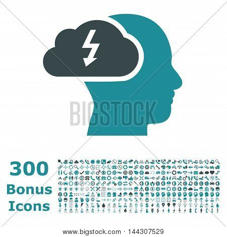 Brainstorming icon with 300 bonus icons. Vector illustration style is flat iconic bicolor symbols, soft blue colors, white background.