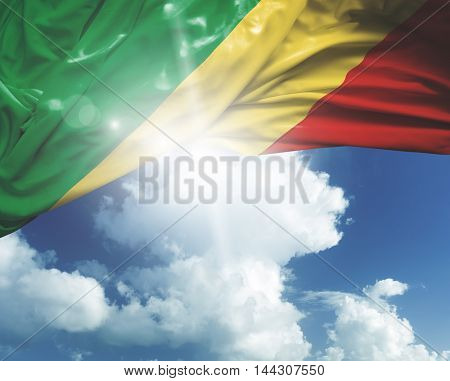 Republic of Congo flag on white background