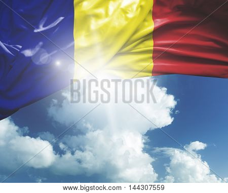 Romania flag on white background