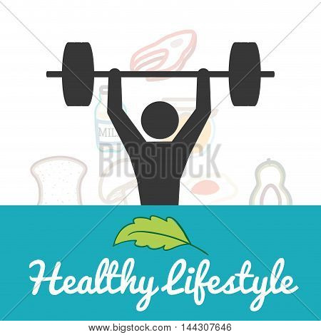 pictogram leaf weight lifting healthy lifestyle fitness gym bodybuilding icon set. Colorful and flat design. Vector illustration
