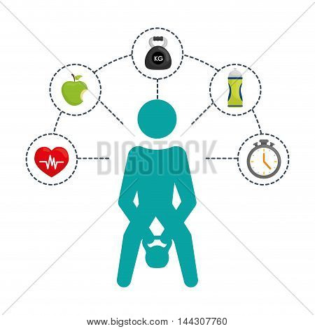 pictogram weight lifting bottle apple heart healthy lifestyle fitness gym bodybuilding icon set. Colorful and flat design. Vector illustration