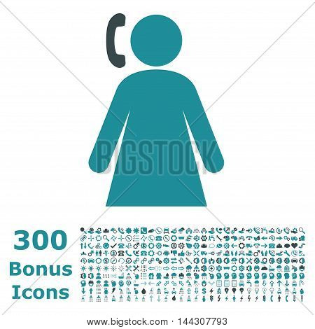 Calling Woman icon with 300 bonus icons. Vector illustration style is flat iconic bicolor symbols, soft blue colors, white background.