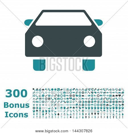 Car icon with 300 bonus icons. Vector illustration style is flat iconic bicolor symbols, soft blue colors, white background.