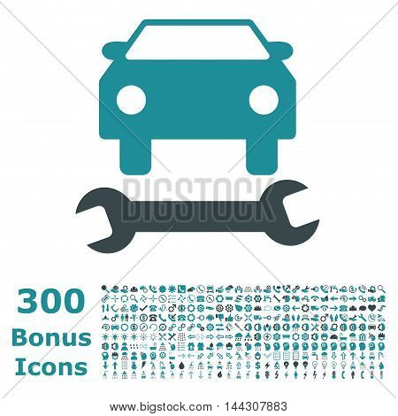 Car Repair icon with 300 bonus icons. Vector illustration style is flat iconic bicolor symbols, soft blue colors, white background.