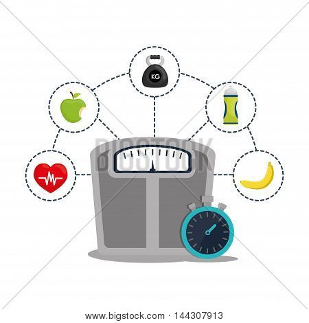 scale chronometer apple bottle banana healthy lifestyle fitness gym bodybuilding icon set. Colorful and flat design. Vector illustration