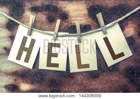 Hell Concept Pinned Stamped Cards On Twine Theme