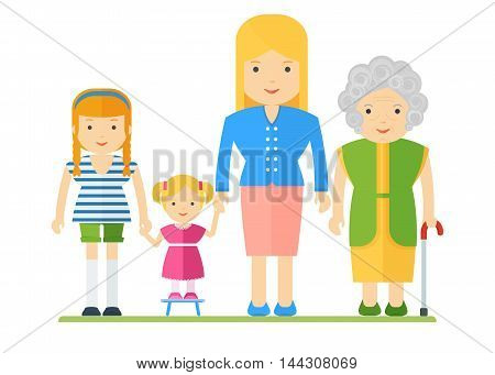 Generation of women. Family tree dynasty. Women of all ages. Grandmother and mother daughter and granddaughter. Flat cartoon vector illustration. Objects isolated on a white background.