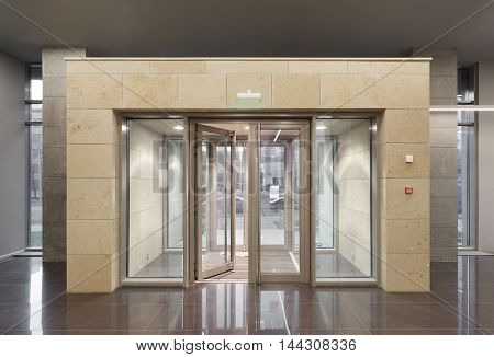 Office entrance in modern office building. Front view