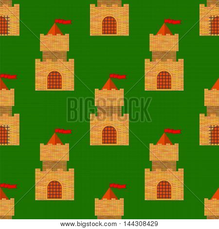 Red Brick Castle Seamless Pattern on Green. Retro Tower Background.
