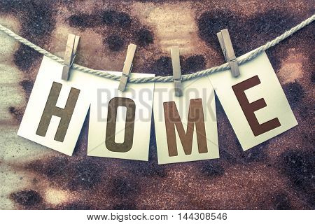 Home Concept Pinned Stamped Cards On Twine Theme