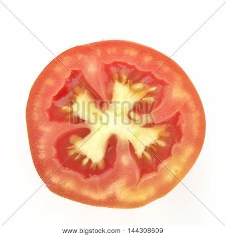 Red Tomato Half Cut and shot From Directly Above