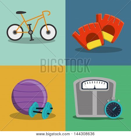 bike weight ball gloves scale healthy lifestyle fitness gym bodybuilding icon set. Colorful and flat design. Vector illustration