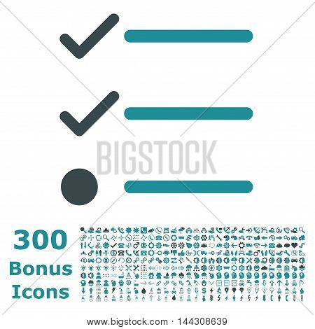 Checklist icon with 300 bonus icons. Vector illustration style is flat iconic bicolor symbols, soft blue colors, white background.