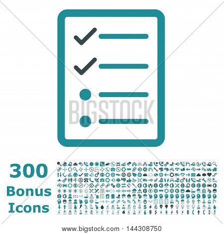 Checklist Page icon with 300 bonus icons. Vector illustration style is flat iconic bicolor symbols, soft blue colors, white background.