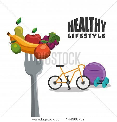 bike weight ball fruits fork healthy lifestyle fitness gym bodybuilding icon set. Colorful and flat design. Vector illustration