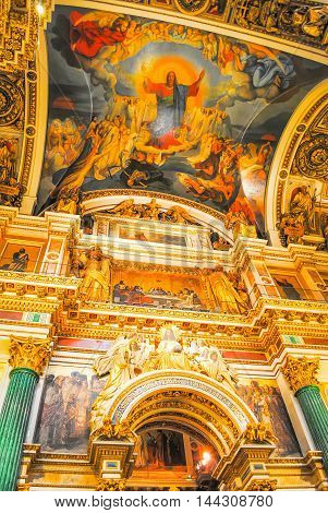 Magnificent Interior Of St. Isaac's Cathedral In St. Petersburg