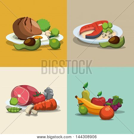 chicken egg meat tomato carrot fruits fish avocado healthy and organic food nutrition lifestyle icon set. Colorful and flat design. Vector illustration