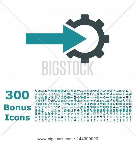 Cog Integration icon with 300 bonus icons. Vector illustration style is flat iconic bicolor symbols, soft blue colors, white background.