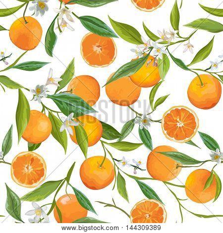 Seamless Pattern. Orange Fruits Background. Floral Pattern. Flowers, Leaves, Fruits Background. Vector