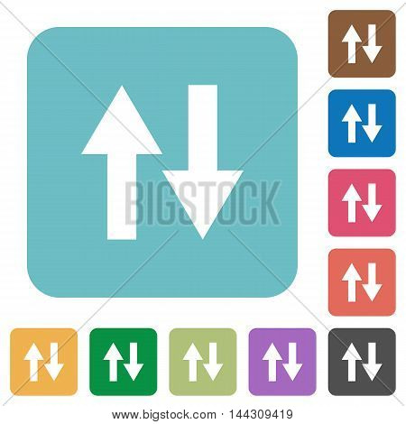 Flat data traffic icons on rounded square color backgrounds.